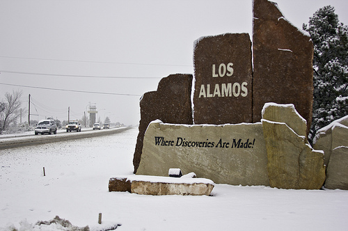 Sign at entrance to Los Alamos townsite.