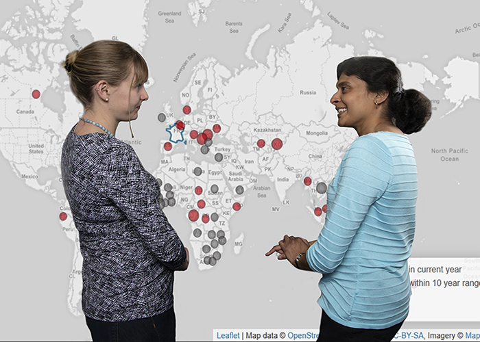 LANL developers Ashlynn Daughton (A-1, Information Systems and Modeling) and Alina Deshpande (B-10, Biosecurity and Public Health) discuss RETRO Rx infectious disease re-emergence results