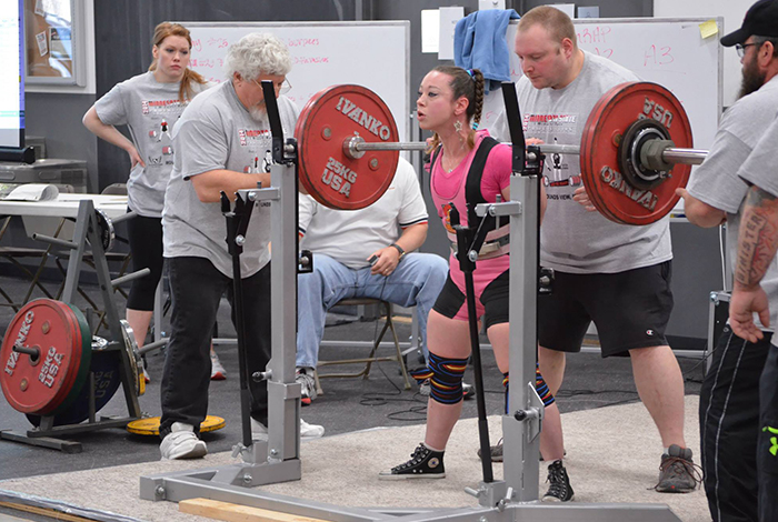 Maura Shuttleworth prepares to squat 292 pounds