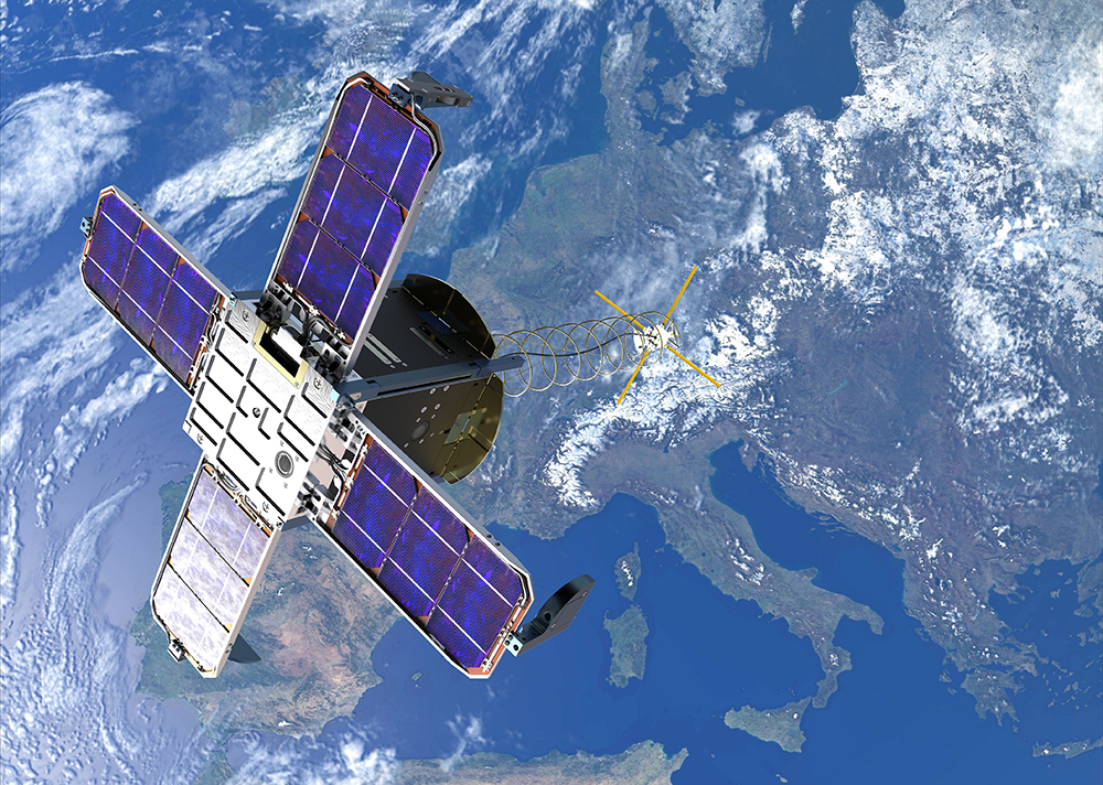 An artist rendition of a Prometheus Block-1 1.5U Cubesat in apparent Earth orbit.