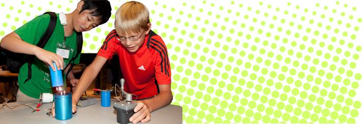boys conducting experiment