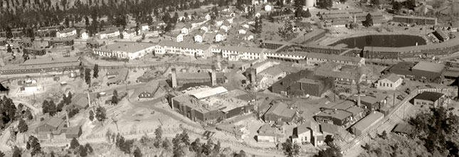 1946 aerial view of Los Alamos