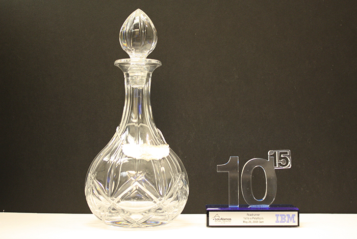 A decanter and a commemorative of our reaching a petaflop