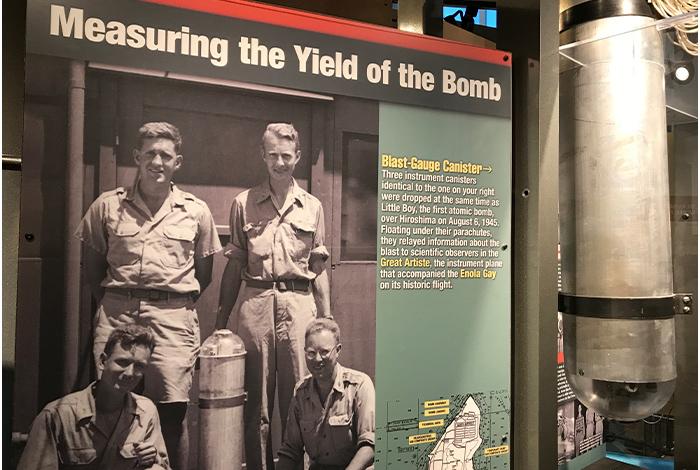 Blast-gauge canister exhibit at the Bradbury Science Museum.