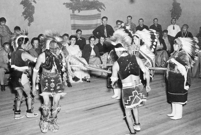 After World War II ended in 1945, San Ildefonso Pueblo hosted a celebration and invited Los Alamos Lab staff to attend. This photo, and many others showing the Native American influence on the Lab, are part of the collections in the National Security Research Center — the Lab's classified library