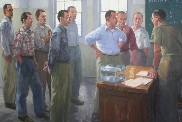 """""""McAllister Hull briefs the civilian explosives specialists for the first time"""" is the artist's description for his painting."""