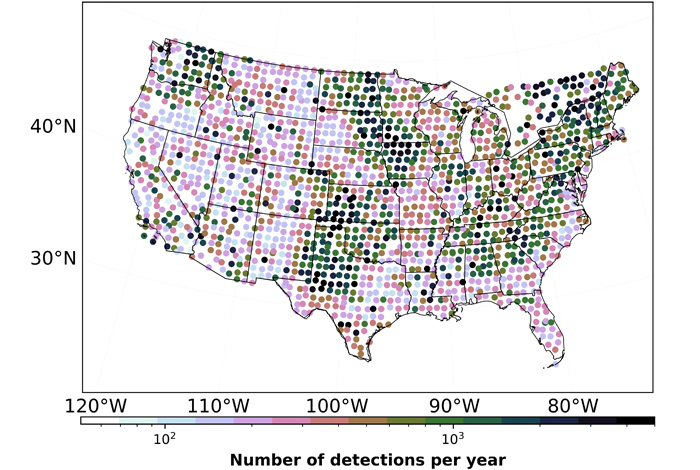 Map of detected industrial noise across the contiguous United States.