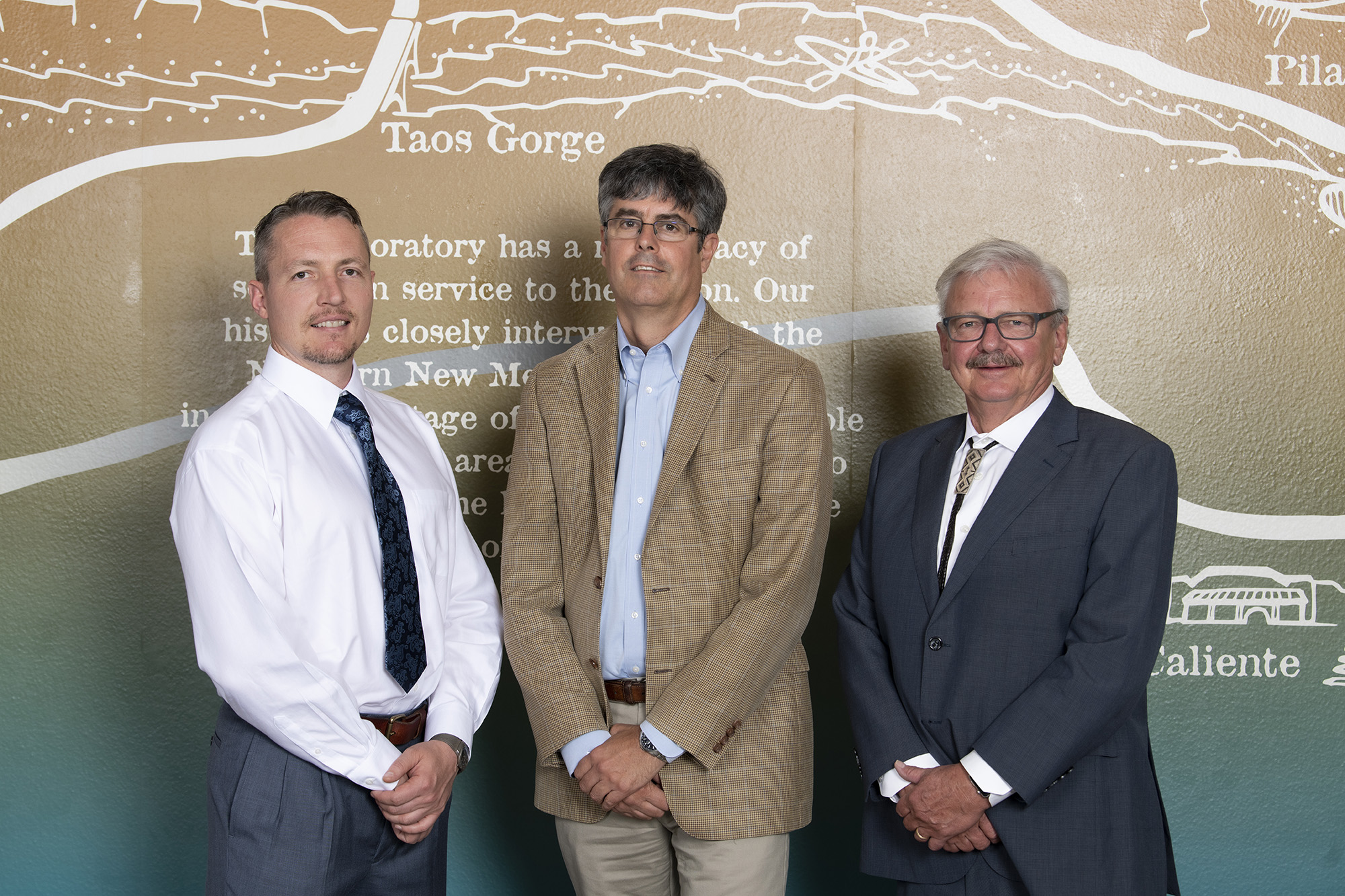 (left to right) Joint appointee David Grow, Laboratory Director Thom Mason and New Mexico Tech President Stephen Wells at the ceremony to mark the joint appointment.